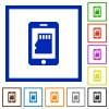 Smartphone memory card flat framed icons - Smartphone memory card flat color icons in square frames on white background