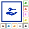 Security service flat framed icons - Security service flat color icons in square frames on white background