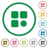 Certified component flat icons with outlines - Certified component flat color icons in round outlines on white background