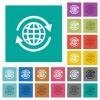 International square flat multi colored icons - International multi colored flat icons on plain square backgrounds. Included white and darker icon variations for hover or active effects.