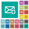 Add new mail square flat multi colored icons - Add new mail multi colored flat icons on plain square backgrounds. Included white and darker icon variations for hover or active effects.