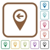 Previous target GPS map location simple icons - Previous target GPS map location simple icons in color rounded square frames on white background