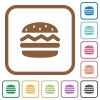 Hamburger simple icons - Hamburger simple icons in color rounded square frames on white background