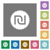 Israeli new Shekel sticker square flat icons - Israeli new Shekel sticker flat icons on simple color square backgrounds