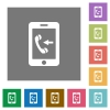 Incoming mobile call square flat icons - Incoming mobile call flat icons on simple color square backgrounds