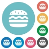 Single hamburger flat round icons - Single hamburger flat white icons on round color backgrounds