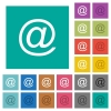 Email symbol multi colored flat icons on plain square backgrounds. Included white and darker icon variations for hover or active effects. - Email symbol square flat multi colored icons