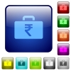 Indian Rupee bag color square buttons - Indian Rupee bag icons in rounded square color glossy button set