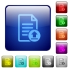 Upload document color square buttons - Upload document icons in rounded square color glossy button set