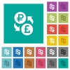 Ruble Pound money exchange square flat multi colored icons - Ruble Pound money exchange multi colored flat icons on plain square backgrounds. Included white and darker icon variations for hover or active effects.