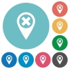 Cancel GPS map location flat round icons - Cancel GPS map location flat white icons on round color backgrounds
