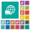 International transport square flat multi colored icons - International transport multi colored flat icons on plain square backgrounds. Included white and darker icon variations for hover or active effects.