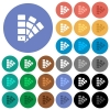 Color swatch round flat multi colored icons - Color swatch multi colored flat icons on round backgrounds. Included white, light and dark icon variations for hover and active status effects, and bonus shades on black backgounds.