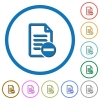 Remove document icons with shadows and outlines - Remove document flat color vector icons with shadows in round outlines on white background