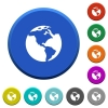 Earth beveled buttons - Earth round color beveled buttons with smooth surfaces and flat white icons