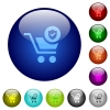 Secure shopping color glass buttons - Secure shopping icons on round color glass buttons