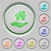 Home insurance push buttons - Home insurance color icons on sunk push buttons