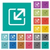 Resize window square flat multi colored icons - Resize window multi colored flat icons on plain square backgrounds. Included white and darker icon variations for hover or active effects.