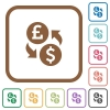 Pound Dollar money exchange simple icons - Pound Dollar money exchange simple icons in color rounded square frames on white background