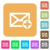 Add new mail rounded square flat icons - Add new mail flat icons on rounded square vivid color backgrounds.