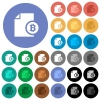Bitcoin report round flat multi colored icons - Bitcoin report multi colored flat icons on round backgrounds. Included white, light and dark icon variations for hover and active status effects, and bonus shades on black backgounds.