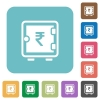 Rupee strong box rounded square flat icons - Rupee strong box white flat icons on color rounded square backgrounds