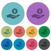 Yen earnings color darker flat icons - Yen earnings darker flat icons on color round background