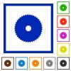 Circular saw flat framed icons - Circular saw flat color icons in square frames on white background