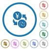 Yen new Shekel money exchange icons with shadows and outlines - Yen new Shekel money exchange flat color vector icons with shadows in round outlines on white background