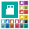 Micro SD memory card square flat multi colored icons - Micro SD memory card multi colored flat icons on plain square backgrounds. Included white and darker icon variations for hover or active effects.