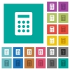 Calculator square flat multi colored icons - Calculator multi colored flat icons on plain square backgrounds. Included white and darker icon variations for hover or active effects.