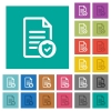 Document protected square flat multi colored icons - Document protected multi colored flat icons on plain square backgrounds. Included white and darker icon variations for hover or active effects.