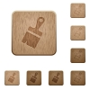 Paste with brush tool wooden buttons - Paste with brush tool on rounded square carved wooden button styles