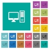 Desktop computer square flat multi colored icons - Desktop computer multi colored flat icons on plain square backgrounds. Included white and darker icon variations for hover or active effects.