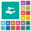 Security service square flat multi colored icons - Security service multi colored flat icons on plain square backgrounds. Included white and darker icon variations for hover or active effects.