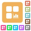 Component statistics rounded square flat icons - Component statistics flat icons on rounded square vivid color backgrounds.