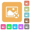 Cancel image operations rounded square flat icons - Cancel image operations flat icons on rounded square vivid color backgrounds.