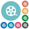 Movie roll flat round icons - Movie roll flat white icons on round color backgrounds