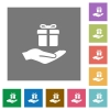 Gifting square flat icons - Gifting flat icons on simple color square backgrounds