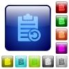 Undo note changes color square buttons - Undo note changes icons in rounded square color glossy button set