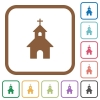 Curch simple icons - Curch simple icons in color rounded square frames on white background