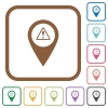 GPS map location warning simple icons - GPS map location warning simple icons in color rounded square frames on white background