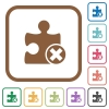 Cancel plugin simple icons - Cancel plugin simple icons in color rounded square frames on white background