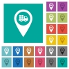 Transport service GPS map location square flat multi colored icons - Transport service GPS map location multi colored flat icons on plain square backgrounds. Included white and darker icon variations for hover or active effects.