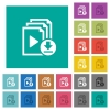 Download playlist square flat multi colored icons - Download playlist multi colored flat icons on plain square backgrounds. Included white and darker icon variations for hover or active effects.