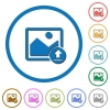Upload image icons with shadows and outlines - Upload image flat color vector icons with shadows in round outlines on white background
