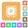 Ruble strong box rounded square flat icons - Ruble strong box flat icons on rounded square vivid color backgrounds.