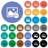 Image processing round flat multi colored icons - Image processing multi colored flat icons on round backgrounds. Included white, light and dark icon variations for hover and active status effects, and bonus shades on black backgounds.
