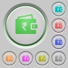 Indian Rupee wallet push buttons - Indian Rupee wallet color icons on sunk push buttons