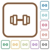 Barbell simple icons in color rounded square frames on white background - Barbell simple icons